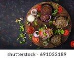 black big sandwich    black... | Shutterstock . vector #691033189