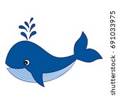 vector cute cartoon baby whale. ... | Shutterstock .eps vector #691033975