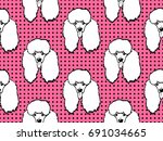 seamless pattern with dogs....   Shutterstock .eps vector #691034665