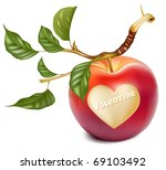 vector red apple with a heart...