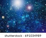 starry outer space background... | Shutterstock . vector #691034989