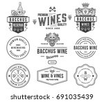 set a of wine badges and icons...   Shutterstock .eps vector #691035439