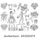 bundle of wine badges and icons ...   Shutterstock .eps vector #691035475