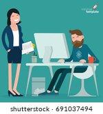 cartoon men and women working...   Shutterstock .eps vector #691037494