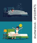 woman sleeping at night and... | Shutterstock .eps vector #691039471