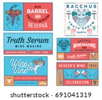 set b of wine badges and icons...   Shutterstock .eps vector #691041319