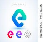 vector abstract letter e logo... | Shutterstock .eps vector #691046335
