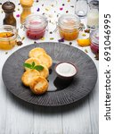 cottage cheese pancakes with... | Shutterstock . vector #691046995