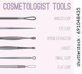 cosmetologist tools kit.... | Shutterstock .eps vector #691048435