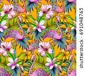 tropical pattern with flamingo  ... | Shutterstock . vector #691048765