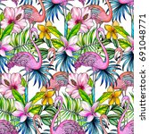tropical pattern with flamingo  ... | Shutterstock . vector #691048771