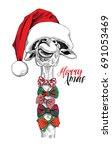 giraffe in a big santa's cap... | Shutterstock .eps vector #691053469