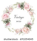 vintage card  watercolor... | Shutterstock . vector #691054045