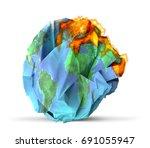 global warming concept 3d... | Shutterstock . vector #691055947