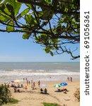 barra velha   tropical beach in ...   Shutterstock . vector #691056361