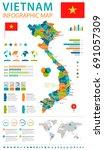 vietnam infographic map and... | Shutterstock .eps vector #691057309