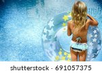 swimming  summer vacation  ... | Shutterstock . vector #691057375