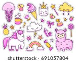 Stock vector magic unicorn alpaca kitten jellyfish cute animals sweets rainbow clouds stars hearts set 691057804