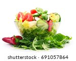 composition with vegetable... | Shutterstock . vector #691057864