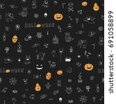 icons and halloween objects... | Shutterstock .eps vector #691058899