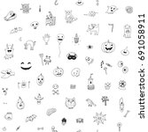 icons and halloween objects... | Shutterstock .eps vector #691058911
