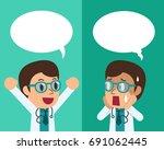 cartoon male doctor expressing... | Shutterstock .eps vector #691062445