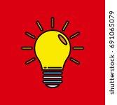light bulb flat icon vector | Shutterstock .eps vector #691065079