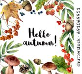 Watercolor Hello Autumn Frame....