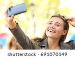 fashion teen taking selfies...