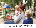 family portrait.beautiful... | Shutterstock . vector #691071211