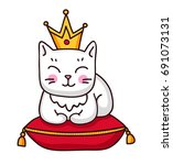 Cute White Cat With Crown On A...