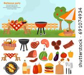 barbecue color icons set for... | Shutterstock .eps vector #691074934