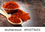 composition with bowl of chili... | Shutterstock . vector #691075651