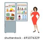 gray fridge with open doors  a... | Shutterstock .eps vector #691076329