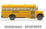 yellow classic school bus. side ... | Shutterstock .eps vector #691076929