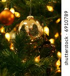 beautiful gold ornament on christmas tree - stock photo