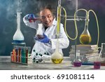 crazy chemist doing experiment... | Shutterstock . vector #691081114