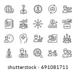 human resources line icons. set ... | Shutterstock .eps vector #691081711
