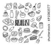 breakfast related hand drawn... | Shutterstock .eps vector #691083577