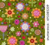 floral seamless pattern.... | Shutterstock .eps vector #691085209