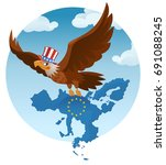 flying american eagle holds the ...   Shutterstock .eps vector #691088245