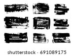 set of black paint  ink brush... | Shutterstock .eps vector #691089175