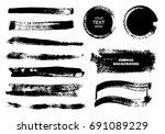 set of black paint  ink brush... | Shutterstock .eps vector #691089229