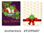 template f. greetings card for... | Shutterstock .eps vector #691090687