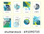 universal abstract posters set. ... | Shutterstock . vector #691090735