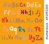 hand drawn alphabet. brush... | Shutterstock .eps vector #691092205