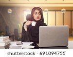 arab young business woman... | Shutterstock . vector #691094755