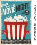 movie cinema night retro poster ... | Shutterstock .eps vector #691096219