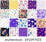 geometric seamless patterns.... | Shutterstock .eps vector #691097425