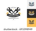 vintage carpentry logo design...   Shutterstock .eps vector #691098949